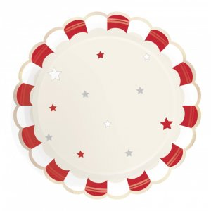 Vintage Circus Pattern Paper Plates (8pcs)