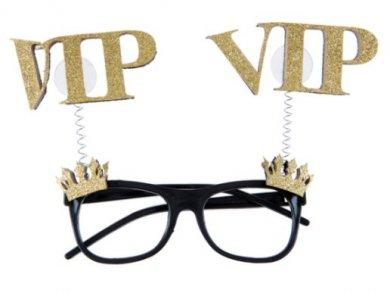 VIP Μαύρα Πλαστικά Γυαλιά με Χρυσές Κορώνες