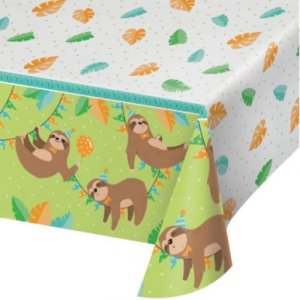 Sloth Party Plastic Tablecover (137cm x 259cm)