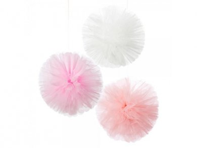 We Love Pink Tulle Pom Poms 3pcs