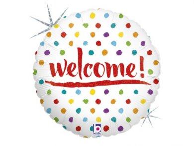 Welcome Foil Μπαλόνι με Πολύχρωμα Πουα (46εκ)