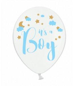 White Latex Balloons It's a Boy (6pcs)