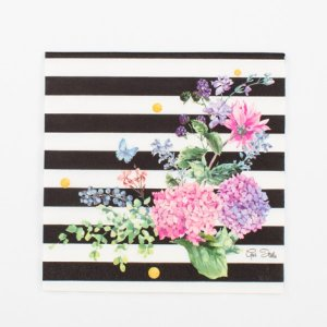 Luncheon Napkins Floral with White and Black Stripes (16pcs)