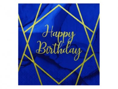 Navy Blue and Gold Happy Birthday Luncheon Napkins (16pcs)