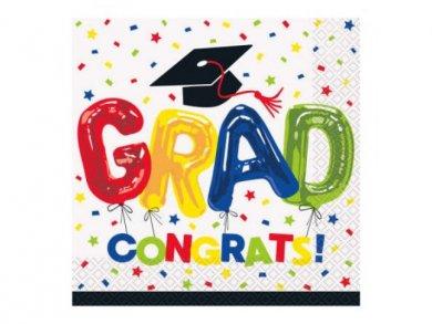 Colorful Grad Congrats Luncheon Napkins 16pcs