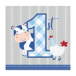 Χαρτοπετσέτες για Πρώτα Γενέθλια Ζωάκια της Φάρμας Μπλε (16τμχ)