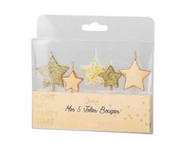 Gold Little Stars Cake Candles (5pcs)