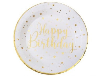 Gold Happy Birthday with Stars Large Paper Plates (10pcs)