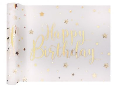 Gold Happy Birthday with Stars Runner for the Table (30cm x 5m)