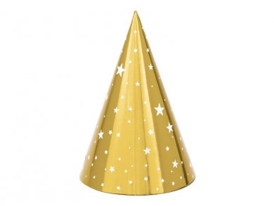 Gold Party Hats with Stars 6/pcs