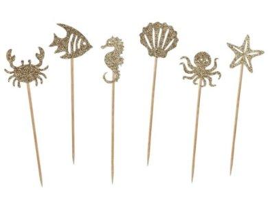 Χρυσά με Γκλίτερ Θαλάσσια Πλασματάκια Διακοσμητικές Οδοντογλυφίδες (6τμχ)