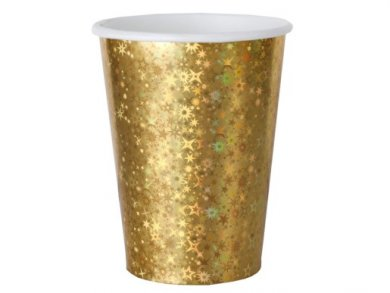Gold Paper Cups with Holographic Print (10pcs)