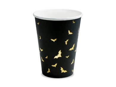 Gold Bats Black Paper Cups (6pcs)