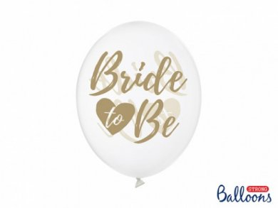 Gold Bride to Be Clear Latex Balloons (6pcs)