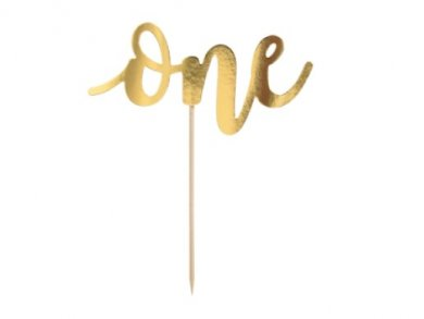 Gold One Cake Topper (19cm)
