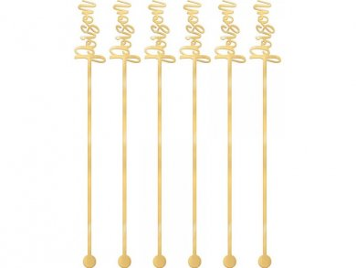 Poison Gold Plastic Drink Stirrers 12pcs