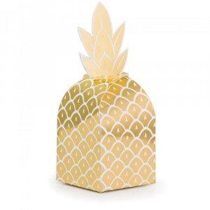 Gold Pineapple Favor Boxes (8pcs)