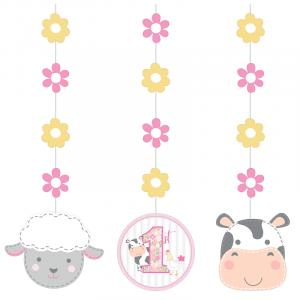Farm Animals Pink Hanging Decorations (3pcs)