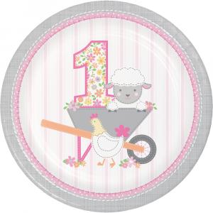 Farm Animals Pink Large Paper Plates (8pcs)