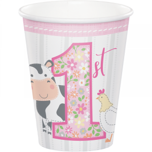 Farm Animals Pink Paper Cups (8pcs)