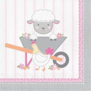 Farm Animals Pink Luncheon Napkins (16pcs)