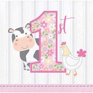 Farm Animals Pink Beverage Napkins (16pcs)